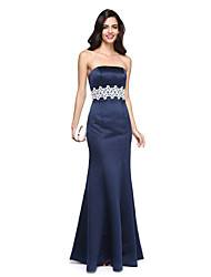 cheap -Mermaid / Trumpet Strapless Floor Length Satin Formal Evening Dress with Beading Sash / Ribbon by TS Couture®