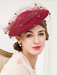 Недорогие -шерстяной тюль сетчатые факсимиляторы шляпы головной убор классический женский стиль