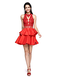 cheap -Ball Gown High Neck Short / Mini Lace Taffeta Cocktail Party Homecoming Prom Dress with Beading Tassel by TS Couture®