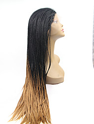 cheap -Synthetic Lace Front Wig Straight African Braids Braided Wig Natural Hairline Black Women's Lace Front Carnival Wig Halloween Wig Natural