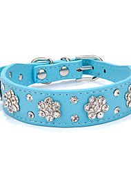 cheap -Dog Collar Adjustable / Retractable Strobe/Flashing Rhinestone Rock PU Leather Black Red Blue Pink