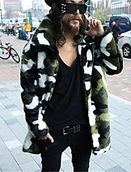 cheap -Men's Daily Elegant & Luxurious Winter Fur Coat,Others Shirt Collar Long Sleeves Long N/A Artistic Style