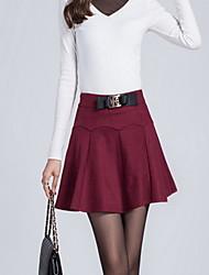 Damen Röcke,A-Linie einfarbigLässig/Alltäglich Mittlere Hüfthöhe Mini Elastizität Baumwolle Micro-elastisch Herbst / Winter