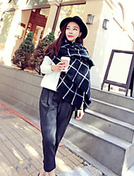 cheap -Women Wool Blend Western Style Black-White Grid Scarf , Vintage / Casual