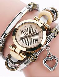 ieftine -Pentru femei Ceas Casual Ceas La Modă Ceas Brățară Quartz / PU Bandă Heart Shape Vintage Casual Cool Negru Alb Albastru Roșu Maro