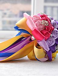 Brudebuketter Rund Roser Buketter Bryllup Fest & Aften Polyester Satin Blonde Perle Skum Rhinsten 9.84 tommer (ca. 25cm)