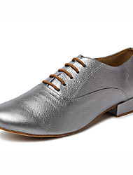 cheap -Men's Latin Jazz Tap Modern Leather Heel Professional Performance Cuban Heel Gold Gray Non Customizable