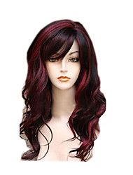 cheap -Fashion Daily Wearing Wig for Women Black mixed Red Wave Natural Heat Resistant Synthetic Wigs