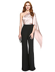 cheap -Mermaid / Trumpet Jumpsuit One Shoulder Floor Length Polyester Charmeuse Formal Evening Dress with Side Draping by TS Couture®