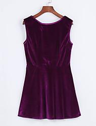 Moulante Robe Femme Soirée Sexy,Couleur Pleine Col Arrondi Mini Sans Manches Polyester Eté Taille Haute Micro-élastique