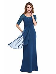 baratos -Tubinho Decote V Longo Chiffon / Renda Vestido Para Mãe dos Noivos com Miçangas / Cruzado / Franzido de LAN TING BRIDE®