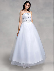 cheap -Ball Gown Strapless Floor Length Tulle Wedding Dress with Beading Appliques