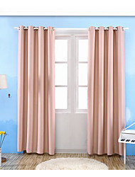 Grommet Top One Panel Curtain Modern , Jacquard Solid Living Room Poly / Cotton Blend Material Blackout Curtains Drapes Home Decoration