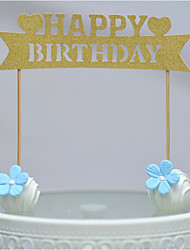 cheap -Cake Topper Beach Theme Hearts Card Paper Birthday With Bow OPP