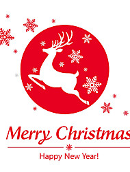 cheap -Wall Stickers Wall Decals Style Merry Christmas Deer PVC Wall Stickers