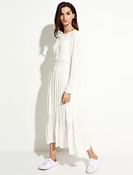 Feminino Solto balanço Vestido,Férias Casual Simples Sólido Decote Redondo Médio Manga Longa Algodão Primavera Outono Cintura Média