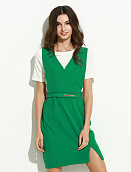 abordables -Mujer Vaina Vestido - Elegante, Un Color Sobre la rodilla