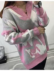 preiswerte -Damen Party Langarm Pullover-Galaxis V-Ausschnitt