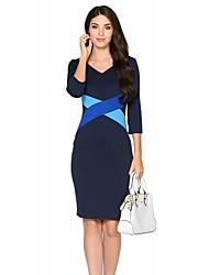 Moulante Robe Femme Travail / Grandes Tailles simple,Couleur Pleine / Mosaïque Col en V Mi-long Manches ¾ Bleu / Beige / NoirCoton /