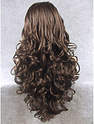 cheap -Synthetic Wig Wavy Natural Hairline Brown Women's Lace Front Carnival Wig Halloween Wig Natural Wigs Long Synthetic Hair