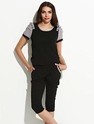 cheap -Women's Work Casual Color Block Round Neck Regular, Short Sleeve Short Sleeves Spring
