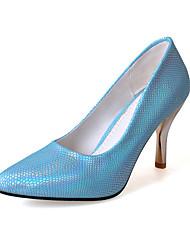 Women's Heels Spring Fall Leatherette Office & Career Casual Dress Stiletto Heel Sliver Blue