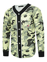 Men's Going out / Casual/Daily / Club Simple / Street chic / Active Jackets,Print V Neck Long Sleeve Green Cotton / Polyester
