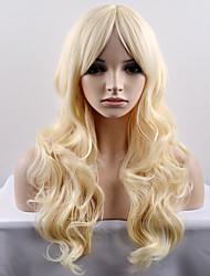 billige -Syntetiske parykker Naturligt, bølget hår Blond Syntetisk hår Blond Paryk Dame Lang / Meget lang Lågløs Afbleget Blond