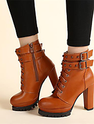Women's Boots Fall Winter PU Casual Chunky Heel Lace-up Black Light Brown