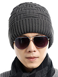 cheap -Winter Men 's Solid Color Twist Knit Ski - resistant Wool Warmer Head Cap