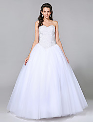cheap -Ball Gown Sweetheart Floor Length Tulle Custom Wedding Dresses with Beading by LAN TING BRIDE®