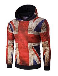 cheap -Men's Daily Sports Casual Active Print Shirt Collar Hoodie Regular, Long Sleeves Spring Fall Cotton