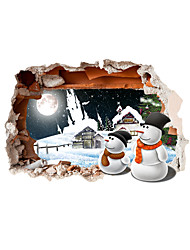 cheap -3D Christmas Snowman Hole PVC Material Decorative Skin Wall Stickers