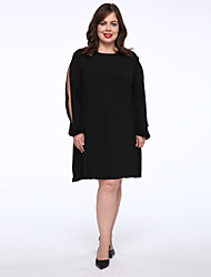 cheap -Women's Plus Size T Shirt Dress - Solid Colored