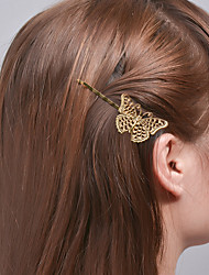 cheap -Women Fashion Plated Rose Gold Alloy Clip Natural Style Girls Hair Clip Hollow Butterfly Side Clip Hair Accessories  1 Piece