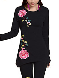 cheap -Women's Daily Plus Size Casual Fall T-shirt,Floral Round Neck Long Sleeves Others Medium