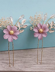 Women's Imitation Pearl / Fabric Headpiece-Wedding / Special Occasion / Casual Hair Pin 1 Piece