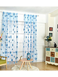 Rod Pocket One Panel Curtain Modern , Print Flower Kids Room Poly / Cotton Blend Material Sheer Curtains Shades Home Decoration