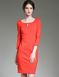Moulante Robe Femme Décontracté / Quotidien simple,Couleur Pleine Bateau Au dessus du genou ½ Manches Orange Polyester AutomneTaille