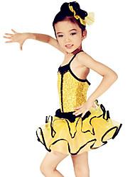Ballett Kleider Kinder Vorstellung Elastan Polyester Organza Pailletten Rüschen Schärpe /Band Mehrlagiger Rock Farbeinheit 2 Stück
