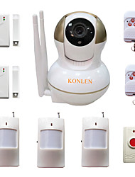 cheap -WIFI Burglar Home Alarm IP Camera Security System For House Anti Thief Video Surveillance With Wireless Alarme Detectors