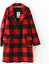 economico -Cappotto Da donna Per uscire / Casual Autunno / Inverno Sensuale / Moda città,A quadri Colletto alla Peter Pan Cotone Rosso Manica lunga
