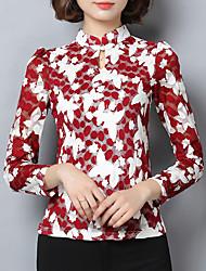 Feminino Camiseta Casual estilo antigo Outono,Floral Azul / Vermelho Poliéster Colarinho Chinês Manga Longa Média