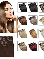 "cheap -Clip In Human Hair Extensions 20""-24"" White Blonde(#60) 8pcs/set"
