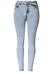 cheap -Women's High Rise Micro-elastic Skinny Jeans Pants, Casual Solid Polyester Winter Fall