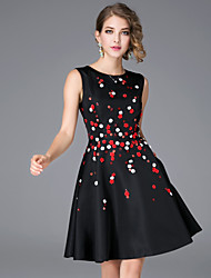 JOJO HANS Women's Casual/Daily Chinoiserie A Line DressFloral Round Neck Above Knee Sleeveless Black Cotton / Polyester Fall Mid Rise Inelastic