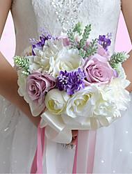 Bouquets de Noiva Redondo Rosas Peônias Buquês Casamento Festa / noite Poliéster Cetim Tafetá Elastano Espuma Flôr Seca Strass
