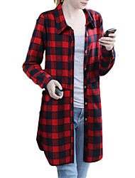 cheap -Women's Plus Size Casual Shirt,Plaid Shirt Collar Long Sleeves Polyester