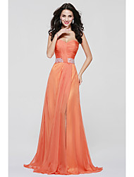 cheap -A-Line Sweetheart Floor Length Chiffon Bridesmaid Dress with Draping Sash / Ribbon Split Front by LAN TING BRIDE®