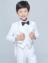 cheap -White Black Cotton Ring Bearer Suit - Five-piece Suit Includes  Jacket Pants Vest Bow Tie Shirt
